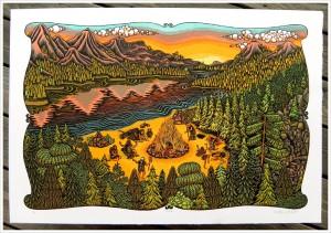 "Tugboat Printshop ""Bonfire"", woodcut, 2010"