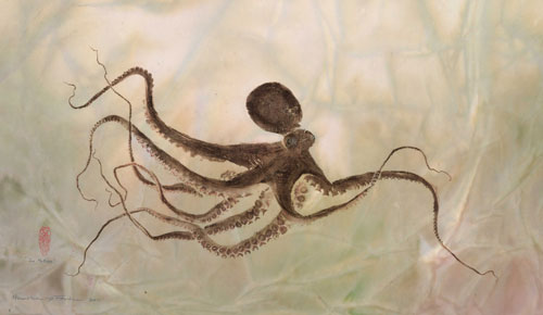 """In Motion""- Octopus Gyotaku - By Heather Fortner"