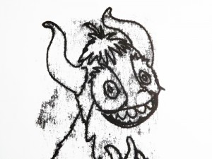 monoprint of a cheery beast