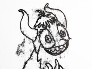 monoprint of a cheery beast